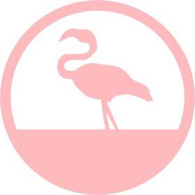 Appliqué en flex thermocollant Flamant rose dans cercle