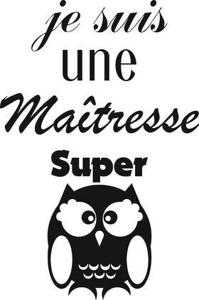 Appliqué en flex thermocollant Maîtresse Super Chouette